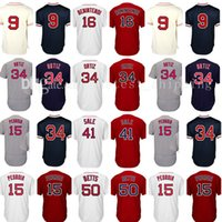 Wholesale Dustin Pedroia Jersey - Men's 34 David Ortiz 50 Mookie Betts Baseball Jersey 15 Dustin Pedroia 16 Andrew Benintendi 9 Ted Williams Jerseys Embroidery