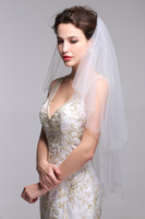Wholesale Small Bridal Veils - Hot Sell Beautiful Bridal Veils with Delicate Crystals and Attractive Shining Small Beads Stunning Two Layers Tulle Wedding Accessories