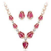 Wholesale Pink Korean Earring - New 2015 fashion Korean Gold Link Chain Necklace Earring Jewelry Sets Tulip Shaped Jewelry Sets Fashion jewelry wholesale