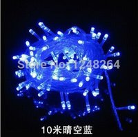 Wholesale Led Blue Star Twinkle Lights - 2016 Rushed Navidad Christmas Lights 10m 100 Led Blue Lights Decorative Christmas Party Festival Twinkle String Bulb 220v Eu Drop Shipping