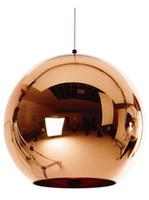 runde lichtkugel großhandel-Moderne LED Chrom Gold Kupfer Glaskugel Runde Ball Pendelleuchten Hängende Beleuchtung für Esszimmer Hanglamp Lampe