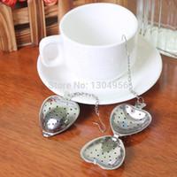 Wholesale Stainless Teaspoons Heart Shape - Heart Shape Tea Infuser with Chain Hook Teaspoon Strainer Stainless Steel 50pcs lot TB0301