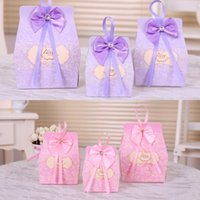 Wholesale Wholesale Printed Ribbon Suppliers - New Favor Candy Boxes 2015 Wedding Suppliers Favor Holders Packing Bags With Ribbon Bow Printing Laser Cut 50 PCS   Lot