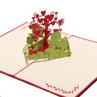 pop up tree card al por mayor-100pcs Wish Tree diseño hecho a mano creativo Kirigami Origami 3D Pop UP tarjetas de felicitación de cumpleaños con Fall in Love Angel Free DHL
