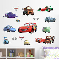 Wholesale Car Televisions - Cartoon Cars Vinyl Wall Stickers Wallpaper Wall Sticker Removable Home Decor Kids Room Decals House Art Sticker