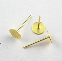 Wholesale Earrings Stud Finding - Wholesale-Free Shipping 300pcs pack 6x12 mmEarring Finding Flat Round Blank Peg&Post Ear Studs head earring Gold,Silver,BronzeDull