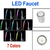 Wholesale Led Light Faucets - New Fashion Glow LED Light Water Stream Faucet Tap 7 Colors Change wholesale