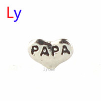 Wholesale Papa Jewelry - Heart Floating Charm my dear PAPA For Living Memory Glass Locket diy JEWELRY,best gifts for my dear MFC1539