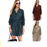 iş bluzu kadın toptan satış-OL Gömlek Uzun Kollu Elbiseler Kadın Dashiki Ofis Elbise İş Lace Up Bluz Gömlek Elbiseler OOA3440