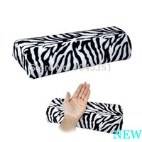 Wholesale Hand For Nail Art Professional - Professional Hand Cushion Pillow Zebra Stripe Soft Rest for Nail Art Manicure Half Column Free   Drop Shipping