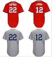 Wholesale 1917 Baseball - Mens 1917 Thruback 22 Jason Kipnis 12 Francisco Lindor Red Grey Stripe Coolbase Free Shipping