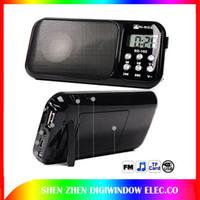 Wholesale Ion Clock - Hot Mini speaker music Player Mobile Music Spadeaker Portable Sound box with FM+Dispaly +Li-ion battery +World Clock +Flashlight