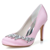 Wholesale Blue Pumps For Cheap - 5623-02 Exquisite Crystal White Shoes For Bride Size 9.3CM Custom Made Bridesmaid Shoes Evening Party Women Shoes Round Toe Cheap Shoes