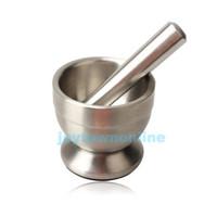 mortier pilon en acier inoxydable achat en gros de-Mortier et pilon en acier inoxydable Bol de piédestal Cuisine Pichet à l'ail Pot # 1JT
