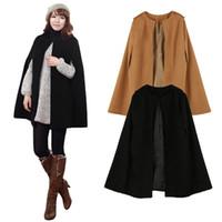 Wholesale Camel Poncho Coat - New Winter Women Coat and Jackets Batwing Cloak Loose Poncho Warm Cape Winter Jacket Women Outerwear Overcoat Camel Black G1543