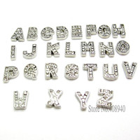 Wholesale Alphabet Slides - 7MM 130pcs Sparkling Silver A-Z Alphabet Letter Floating Charm Initial Locket Charms Pendants For Floating Locket DIY Charm LSFC113*130