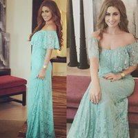 Wholesale Mermaid Lime Green Prom Dresses - Beach Boho Full Lace Lime Green Evening Gown 2018 Off Shoulder Arabic Dresses Formal Wear Prom Party Junior Bridesmaid Dress Plus Size Cheap