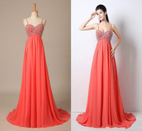 Wholesale Good Quality Prom Dresses - Coral Beautiful Beaded Sexy Spaghetti Straps Empire Waist Prom Dresses 2018 100% Original Picture Formal Pageant Gowns Good Quality Gowns