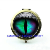 Wholesale Metal Antique Pocket Mirror - New Arrival Glass Photo Jewelry Dragon Eye Compact Mirror Antique Pocket Mirrors Glass Pocket Mirror --00209-6