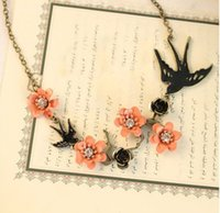 Wholesale El Necklace - Wholesale! Spring Wind Pink Little Flower Cute Fly Swallow   Bird Pendant Necklace el collar