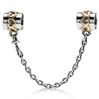 Wholesale Sterling Silver Golden - Wholesale Golden Hearts Safety Chain 925 Sterling Silver Bead Fit European Charm Snake Chain Bracelet Female Jewelry