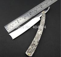 Wholesale Aluminum Shavings - RFS-290 Vintage Aluminum Straight Edge Stainless Steel Shaper Barber Razor Folding Shaving Knife
