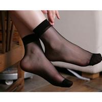 Wholesale Women Socks Nylon Short - Wholesale-Fashional Spandex,Nylon 10Pairs Women Elastic Ultra-thin Transparent Short Crystal Ankle Socks free shipping PS1085