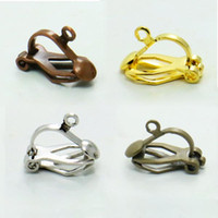 Wholesale Earring Hook Screw - 100X DIY Ear Clip Ear Hook with a Hoop Bronzed Copper Silver Gold Plated Clip-on Earrings for DIY Jewelry Making