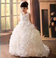 Wholesale Teenager Pageant Dresses - 2015 New Teenager Custom Made Elegant Jewel Ball Gown Ankle Length Taffeta Sleeveless Girls Pageant Dress
