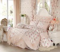 Wholesale korean princess bedding sets for sale - Group buy Korean style Lace princess bedding set home textile Flower bedspread bed skirts girl bedclothes duvet cover queen king