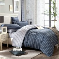 Wholesale bedspread grey king size beds for sale - Simple Pure Cotton Bedding Set King Size Striped Bedspread Grey Color Plaid Cotton Bed Sheets For Men