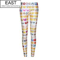 Wholesale Funny Exercise - Wholesale-East Knitting Free Shipping F176 Women's Emoji Jogger Leggings Exercise Pants Casual Hip Hop Funny Plus Size Sweatpants