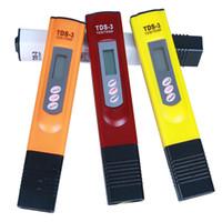 probador de tds ppm al por mayor-Medidor de TDS digital Monitor TEMP PPM Tester Pen Medidores de LCD Monitores de pureza de agua del palillo Mini filtro de probadores hidropónicos TDS-3 colores de la mezcla