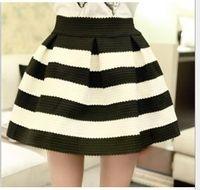 Wholesale Skirts Elastic Waist Short - Fashion High-Waist Women Striped Skirts Women's Ball Gown Elastic Skirt Casual Short Skirts 5colors A4133