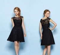 Wholesale Girl Dress Lace Overlay - 2017 Black Junior Bridesmaid Dresses Lace Overlay Knee Length Girls Bridesmaid Dress Capped Sleeves High Neck Bridesmaid Gowns Custom Made