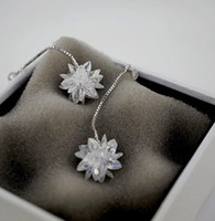 Chiling white diamond snowflowe 925 silberne Dame Ohrringe (43 * 14mm) (nnsssp)