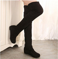 Wholesale Black Knee Wedge Boots - Women Boots 2015 Autumn Winter Ladies Fashion Flat Bottom Boots Shoes Over The Knee Thigh High Suede Long Boots Brand