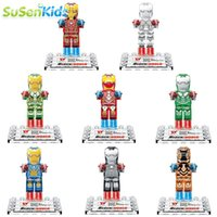 Wholesale Crystal Building Models - 8pcs lot movie Super Hero Crystal Version Iron Man Kid Baby Toy Mini Figure Building Blocks Sets Model Toys Minifigures Brick