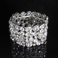 Wholesale Round Rhinestone Clasps - Round Bridal Jewelry Bracelet With Rhinestone Silver Alloy Wedding Bangles No Clasp Cuffs Women Accessories For Bride Evening Party