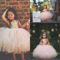 Wholesale girls first birthday party - Blush Pink Tutu Toddler Infant Flower Girls Dresses 2018 Sparkly Rose Gold Sequins Little Princess First Communion Wedding Party Dress