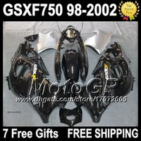 Wholesale Suzuki Gsxf Fairings - 7gifts For SUZUKI KATANA GSXF750 black 98-02 GSXF 750 GSX750F 27G4 GSXF-750 98 99 black silver 00 01 02 1998 1999 2000 2001 2002 Fairing