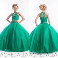 Wholesale High Glitz Dresses - Girls Pageant Gowns Emerald Green Halter High Neck Tulle Beaded Crystals Kids Prom Dresses Make 2015 Glitz Flower Girls Dresses