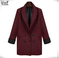 Wholesale Women Double Breasted Blazer - European Women Wine Red Notch Lapel Long Sleeve Double Breasted Pockets Suits 2015 Spring Fashion Business Formal Blazer