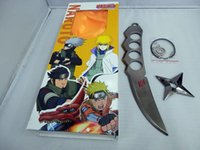 Wholesale Naruto Weapons Free Shipping - Free Shipping 26 cm Anime alloy model sheath Naruto shuriken anime Props Cosplay weapon Kunai keychain Wholesale Retail