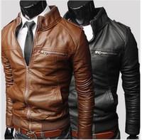 Wholesale Leather Suit For Motorcycle - Newest Men's Suit PU Leather Jacket Man clothing Mens Fashion Transverse Slim Leather Motorcycle Jackets For Men 3 Color Plus Size M-XXXL