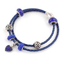Wholesale Leather Brac - Fine Blue Brac Summer Style cyan Genuine Leather Bracelet beads Chain Fit For Charms Bracelets DIY Metal Alloy Glass European Big Hole Beads