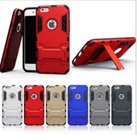 Wholesale S4 Iron Man - Iron Man Robot Hybrid 3in1 Slim Armor Defender Hard PC Silicone Cases Back Cover Case For iphone5 5s 6 6plus Samsung S4 5 6 edge note4