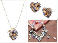 Wholesale Multielement Bracelet - Betsey Johnson Blue line heart multielement pendant necklace bracelet earrings