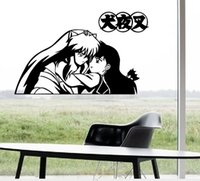 Wholesale anime hugging resale online - Anime Cute Cartoon Lovely Inuyasha Kikyo Sketch Hug Together Cool Propile Wall Sticker Decal Home Decor For Anime Fans