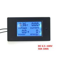 Wholesale Dc Volt Ammeter - DC6.5~100V Ammeter Voltage Meter Amp Volt Power Energy Meter With Blue Backlight LCD Digital Diaplay 50A 100A Optional